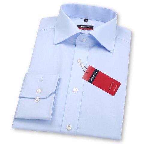 Tailliertes hellblaues Redline Hemd mit Kentkragen, Popeline Qualität, normal cm Armlänge, Größe 41 von eterna