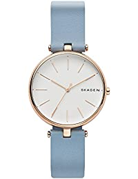 Women's Quartz Stainless Steel and Leather Casual Watch, Color:Blue (Model: SKW2711)