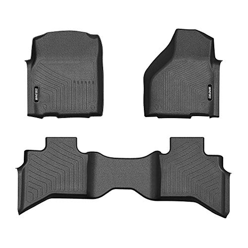 COOLSHARK Dodge Ram 1500 Floor Mats, Floor Liners Custom Fit for 2013-2018 Dodge Ram 1500 Quad Cab (Not Fit Crew Cab),1st and 2nd Row Included-All Weather Heavy Duty Rubber Floor Protection