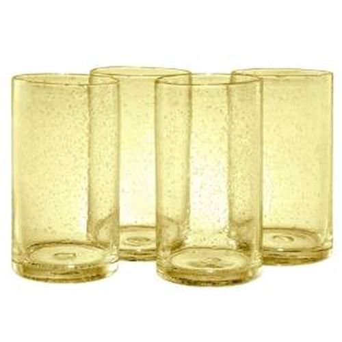 Artland Iris Highball Glasses, Citrine, Set of - Highball Four Glasses