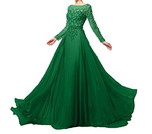 Brautmutterkleider Damen Grün und Partykleider Langarm Abendkleider Pailletten mit Perlen Festlichkleider Charmant tTxdqRwT