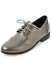 SaraIris Women's Comfortable Faux Leather Block Heel Oxfords Vintage Lace-up Brogues Girls&Ladies Dress Shoes