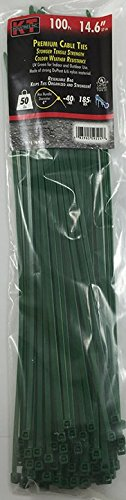 K-T Industries 5-9524 14.6-Inch Cable Ties, Standard Duty, Green, 100-Pack by K-T Industries