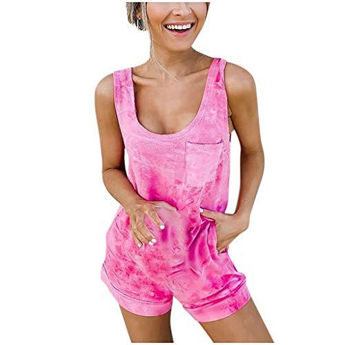 QIQIU Womens Sexy Boho Casual Pocket O-Neck Short Jumpsuits Daily Sport Beach Sleeveless Fashion Romper -