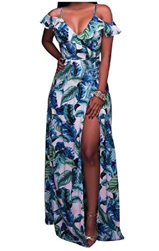 Coolred Printed Maxi Split As2 Shoulder Dress Flounced Neck Women Off V wIq1Ir