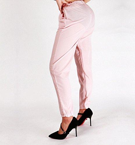 Pantalon le soie Rose de cordon pantalons affaires occasionnel les en le pour et avec femmes de mousseline quotidien rrwfqp