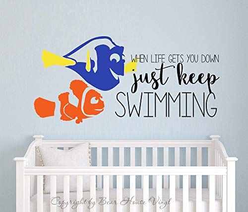 EvelynDavid Just Keep Swimming Finding Nemo Dory Quote Vinyl Wall Decal Wall Quote Wall Words