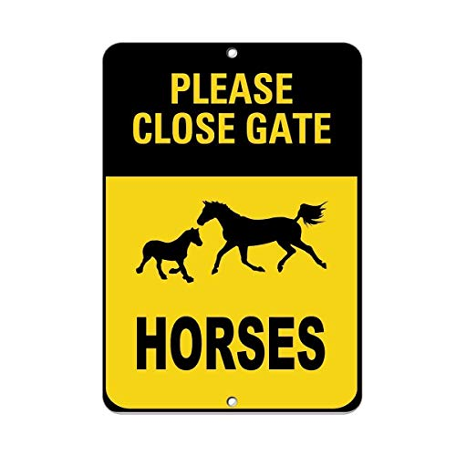 AdriK Funny Sign Gift Please Close Gate Horses Activity Sign Farm Sign General Metal Sign Wall Plaque Decoration Caution Sign