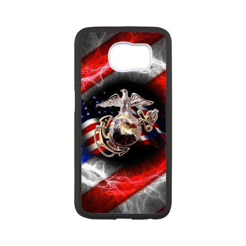 Fayruz- Personalized Protective Hard Textured Rubber Coated Case Cover for Samsung Galaxy S6 - USMC Marine Corps -S6O1476