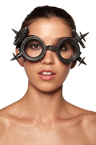 KII Matte BlackSteampunk Goggles with Cogs and Giant Spikes (Unisex; One Size Fits - For Goggles Long Face