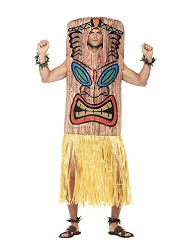 Smiffys Men's Tiki Totem Costume, Tabard, Attached Skirt, Wrist and Ankle Cuffs, Hawaiian Luau, Serious Fun, One Size, 45539 -