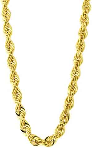 7929a797f Men's 14k Yellow Gold Lightweight 4.5mm Diamond Cut Rope Chain Necklace