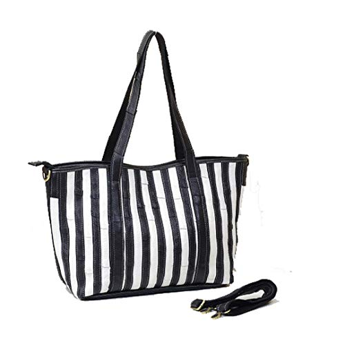 NEW Handbags Colorful Designers Genuine Leather Shoulder Bag Stripes Tote Messenger Bags K307 black n white