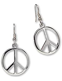Hippie Peace Sign Dangle Earrings Polished Silver Finish Pewter