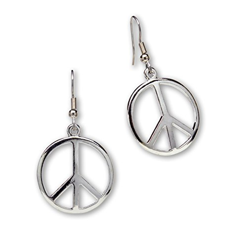Peace Sign Dangle Earrings Polished Silver Finish Pewter (Peace Costumes)