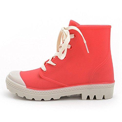 de goma lluvia al Resistente Red tobillo Botas Zapatos agua Botas Cordones Moda ajustables Mujeres Mujeres de al xqZwHCEXtU