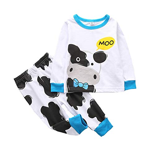 2Piece Toddler Kids Baby Boys and Girls Pajamas Set,Long Sleeve Print Top T-Shirt Trousers Pants Sleepwear Blue