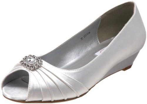 3b9890e3683 Dyeables Women's Anette Low-Heel Wedge, White,8 M US: Amazon.com ...