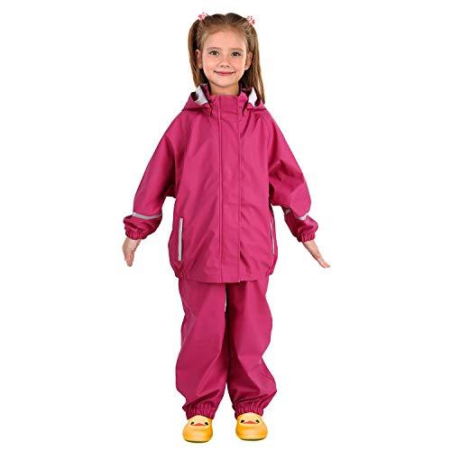 Andake Kids Rain Suit, Waterproof Rain Jacket and Bib Overall (Pink, L (8-9Y))