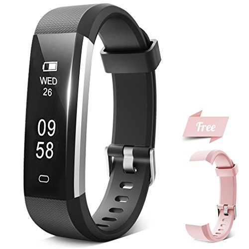 IHONGS Fitness Tracker, Activity Tracker, IP67 Water Resistant Sleep Monitor Pedometer Step Counter Bluetooth Wireless Smart Watch Wristband for Kids Women Men (Black+Pink Band)