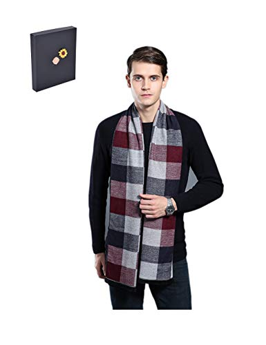 ORANGEEE Mens Super Soft Luxurious Cashmere Scarf With Gift Box (White/Grey Plaid)