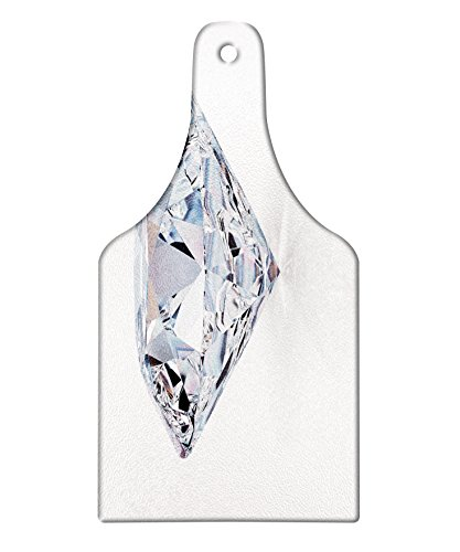 Lunarable Diamonds Cutting Board, 3D Image of a White Topaz Figure with Reflections Nobility Royalty Treasure Theme, Decorative Tempered Glass Cutting and Serving Board, Wine Bottle Shape, Multicolor