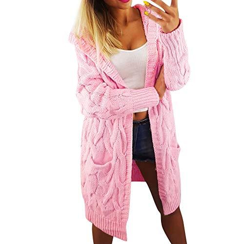 Femme Tricot Cardigan,Manches Longues Oversize Manteau en Vrac Outwear Chaud Veste Bringbring Rose