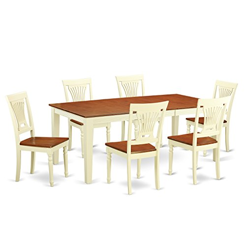 East West Furniture QUPL7-WHI-W 7 Piece Dining Table and 6 Solid Wood Chairs Set
