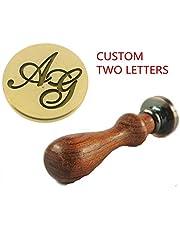 MNYR - Juego de dos letras personalizadas con logotipo de letras para boda, invitación, regalo de Navidad, sellado de cera, sello de sello de palisandro
