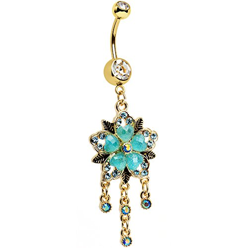 Heart Belly Gold Dangle (Body Candy Gold Anodized Steel Clear Brilliant Blue Aurora Accent Heart Flower Dangle Belly Ring)