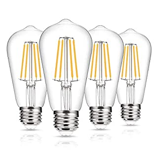 Vintage Edison Bulb 60W Equivalent, DORESshop Dimmable 7W ST58 Antique LED Filament Light Bulb, Warm White 2700K, E26 Base Squirrel-Cage Antique Lamp for Home Decor, Reading Room, 4Pack