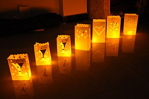 Fascola White Luminary Bags - 20 Count - Sunburst Design - Wedding, Reception, Party and Event Decor - Flame Resistant Paper - Luminaria