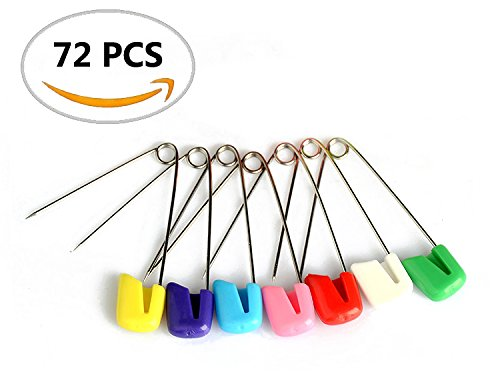 72PCS IFfree Plastic Head Baby Safety Pins Safety Locking Baby Cloth Diaper Nappy Pins -Assorted Color, Size L