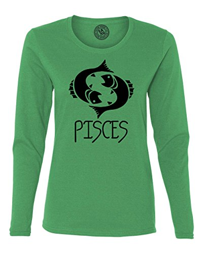 Pisces Zodiac Signs Birthday Womens Long Sleeve T Shirt Kelly Green (Sign Womens Cut T-shirt)