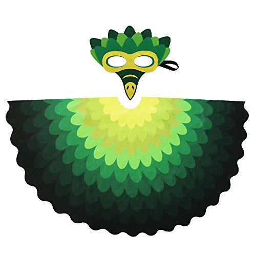 Kids Fairy Bird Wings Costumes Feathered for Boys Girls Boys Dress up Party Decoration with Bird Mask(#2 Green) -