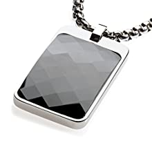 Black Faceted High-Tech Ceramic Tungsten Tag Necklace, Surgical Steel Chain