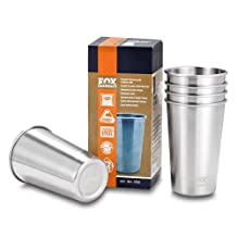 Fox Outfitters Stainless Steel Pint Cups, 16 Ounce, Pack of 5