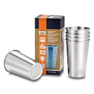 Fox Outfitters 16oz Stainless Steel Pint Cups (Pack of 5)