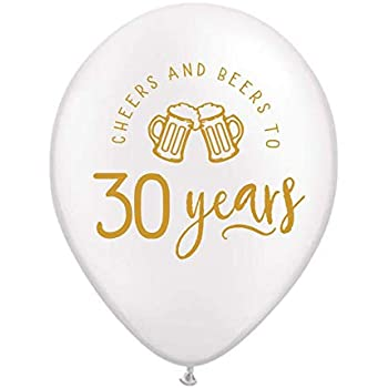 30th Birthday Party Balloons 30 Years Retirement Party Balloons Beer Mugs Set of 3 Cheers and Beers to 30 Years Balloons with Beer Mugs 30th Birthday Party Decorations Metallic Gold and White