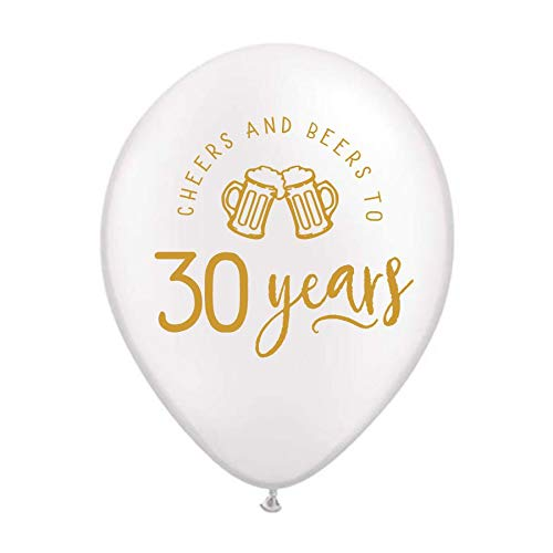 Retirement Party Balloons 30th Birthday Party Balloons 30 Years Beer Mugs Cheers and Beers to 30 Years Balloons with Beer Mugs 30th Birthday Party Decorations Metallic Gold and White Set of 3
