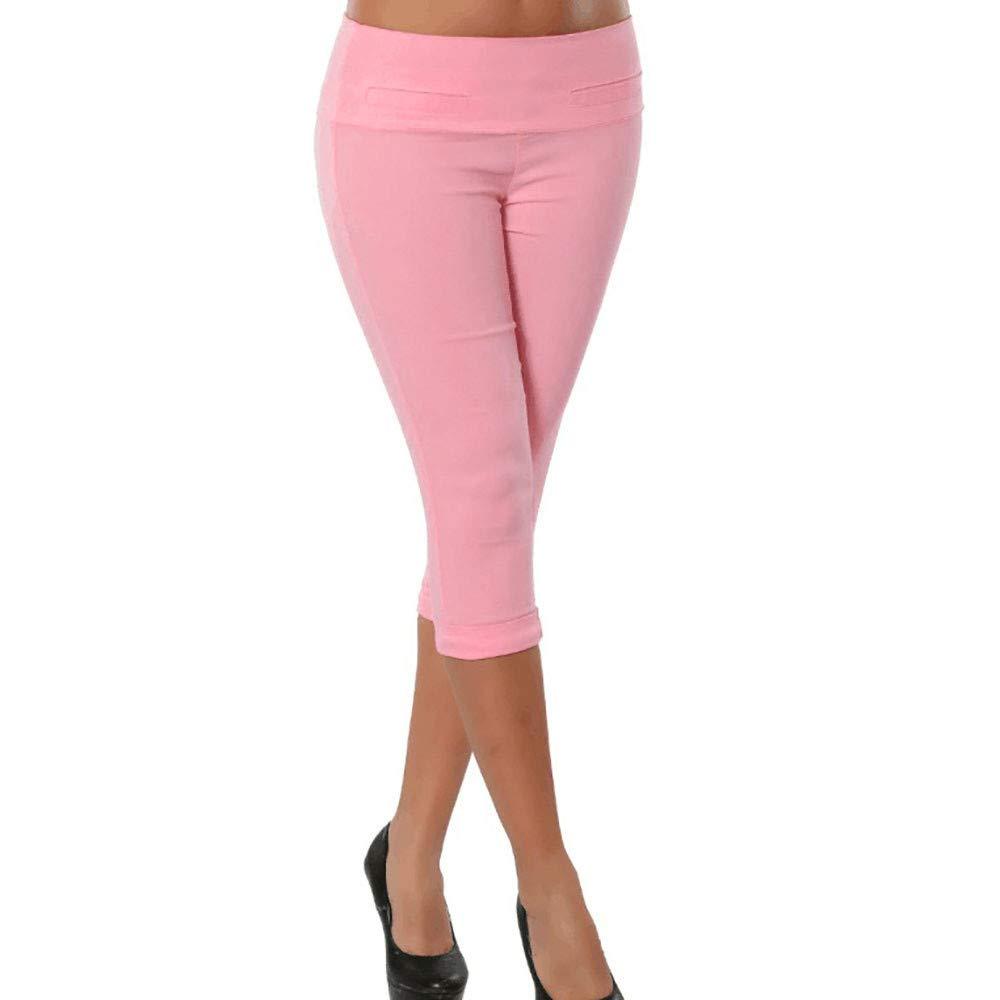 Pervobs Women Plus Size Solid Button Zipper High Waist Calf-Length Pants Trousers(S, Pink)