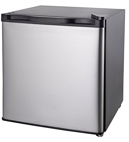 1.6-1.7 Cubic Foot Fridge with Clean Steel Door, Stainless Steel