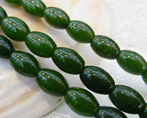 Rice Gemstone Shaped Beads - FidgetKute 10x14mm Natural Green Emerald Gemstone Rice-Shaped Loose Beads 15