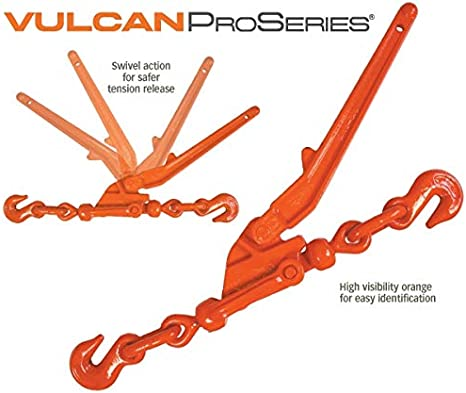 Classic VULCAN Lever Style Load Binder with 2 Grab Hooks 9,200 Pound Safe Working Load for 3//8 Inch Grade 70 or 1//2 Inch Grade 43 Chain