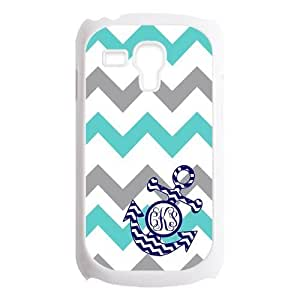 Turquoise Gray Chevron Zigzags Pattern & Navy Anchor Monogram Personalized Custom Best Plastic Case for Samsung Galaxy s3 MINI ,Black or White for Choice