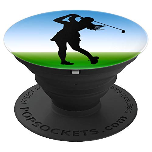 Golf Swing Woman Love Game Ball Female Golfer Club Course  PopSockets Grip and Stand for Phones and Tablets (Best Female Golf Swing)