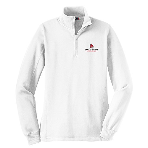Campus Merchandise NCAA Ball State Cardinals Women's 1/4 Zip Pullover, 4X-Large, - Cardinal White Pullover