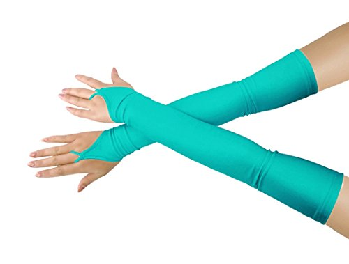 Shinningstar Girls' Boys' Adults' Stretchy Lycra Fingerless Over Elbow Cosplay Catsuit Opera Long Gloves (Mint Blue) -