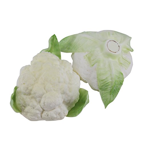Greatflower Pack of 2 PU Artificial Vegetable Cauliflower in White by Greatflower