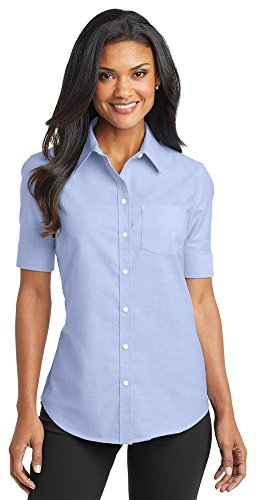 Port Authority Ladies Short Sleeve SuperPro Oxford Shirt, Oxford Blue, X-Small